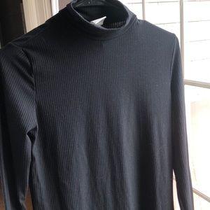 Black mock neck rubbed dress